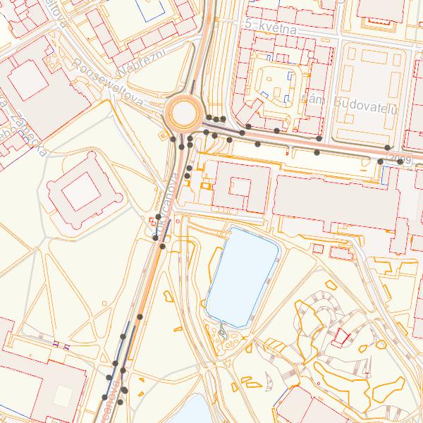 Kompozice obsahuje data pasportu komunikací nad daty Účelové mapy povrchové situace doplněné o podkladovou mapu
